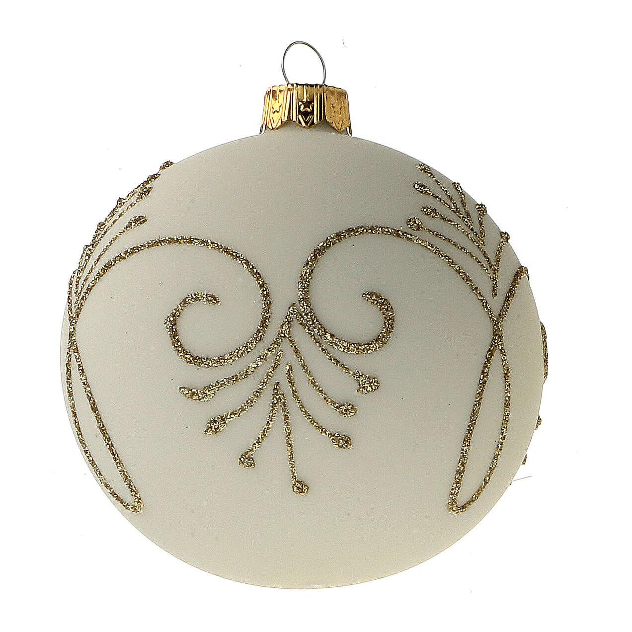 Christmas tree ball matt white gold blown glass 80 mm 6 pcs 4