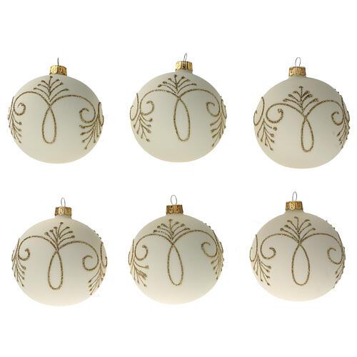 Christmas tree ball matt white gold blown glass 80 mm 6 pcs 1