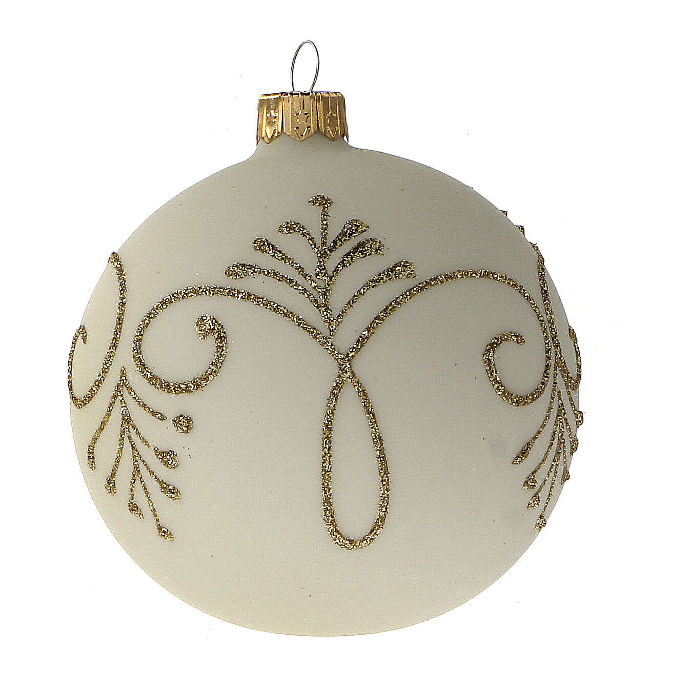 Pallina albero Natale bianco opaco oro vetro soffiato 80 mm 6 pz 4