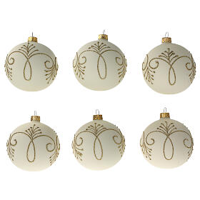 Pallina albero Natale bianco opaco oro vetro soffiato 80 mm 6 pz s1
