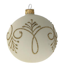 Pallina albero Natale bianco opaco oro vetro soffiato 80 mm 6 pz s2