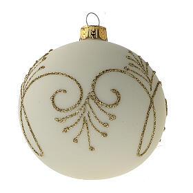 Pallina albero Natale bianco opaco oro vetro soffiato 80 mm 6 pz s3