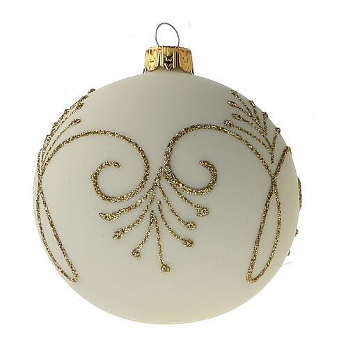 Pallina albero Natale bianco opaco oro vetro soffiato 80 mm 6 pz 3
