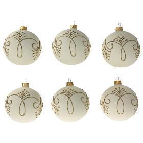 Christmas ornaments matte white gold decor blown glass 80 mm 6 pcs s1