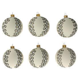 Christmas tree decoration blown glass white black gold 80 mm 6 pcs s1