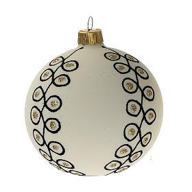 Christmas tree decoration blown glass white black gold 80 mm 6 pcs s2