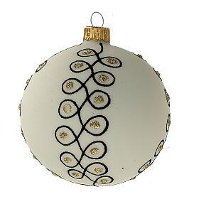 Christmas tree decoration blown glass white black gold 80 mm 6 pcs s3
