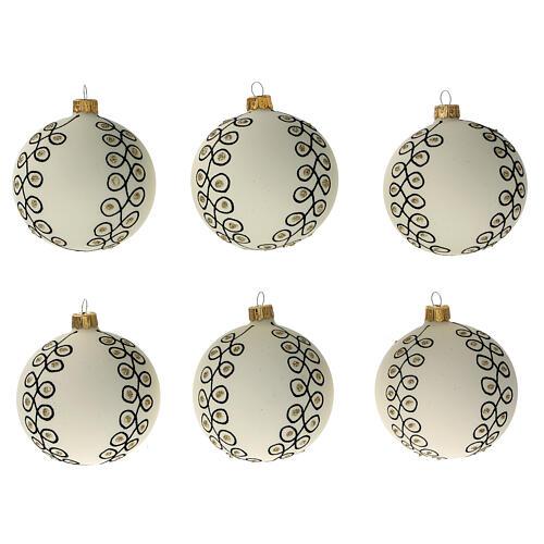Christmas tree decoration blown glass white black gold 80 mm 6 pcs 1