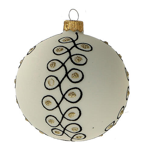 Christmas tree decoration blown glass white black gold 80 mm 6 pcs 3