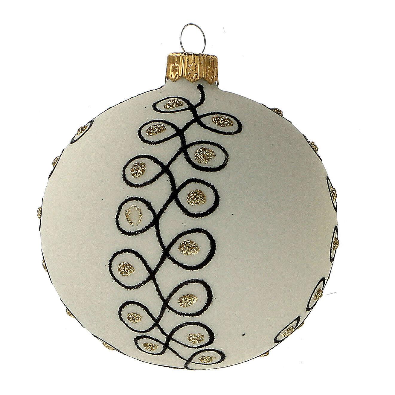 Addobbi albero Natale vetro soffiato bianco nero oro 80 mm 6 pz 4