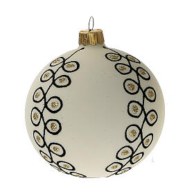 Addobbi albero Natale vetro soffiato bianco nero oro 80 mm 6 pz s2