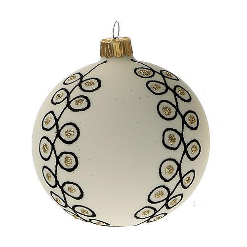 Addobbi albero Natale vetro soffiato bianco nero oro 80 mm 6 pz 2