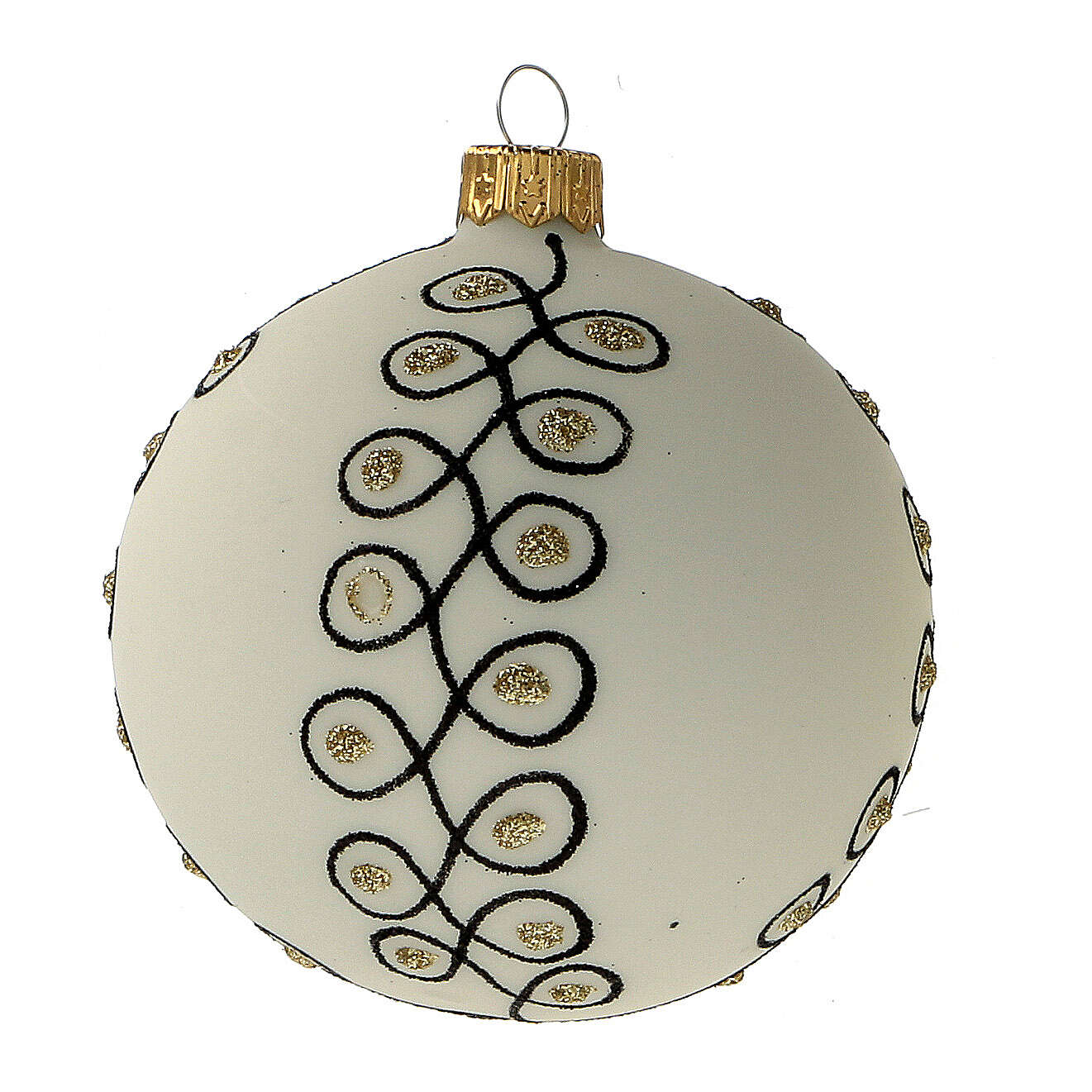 Glass Christmas ornaments in blown glass white gold gold 80 mm 6 pcs 4