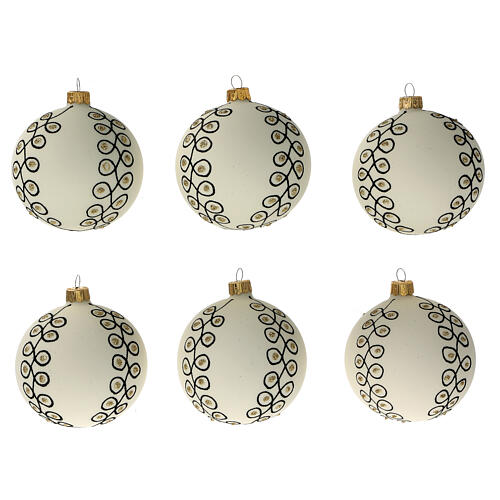 Glass Christmas ornaments in blown glass white gold gold 80 mm 6 pcs 1