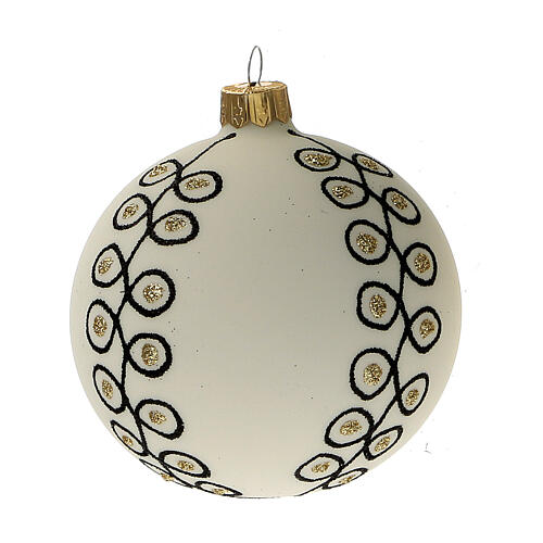 Glass Christmas ornaments in blown glass white gold gold 80 mm 6 pcs 2