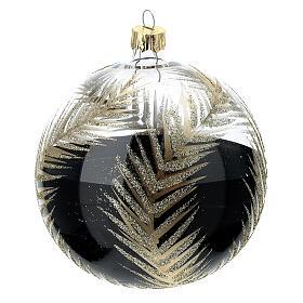 Pallina Natale nero rami oro vetro soffiato 100 mm s3