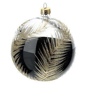 Pallina Natale nero rami oro vetro soffiato 100 mm s4