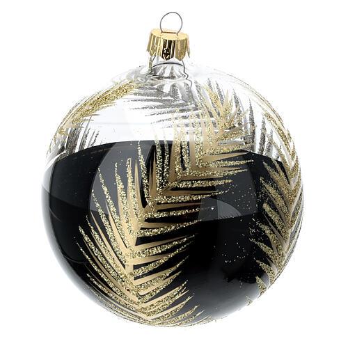 Bola árvore de Natal vidro soprado preto e transparente ramos dourados 100 mm 1