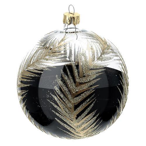 Bola árvore de Natal vidro soprado preto e transparente ramos dourados 100 mm 3