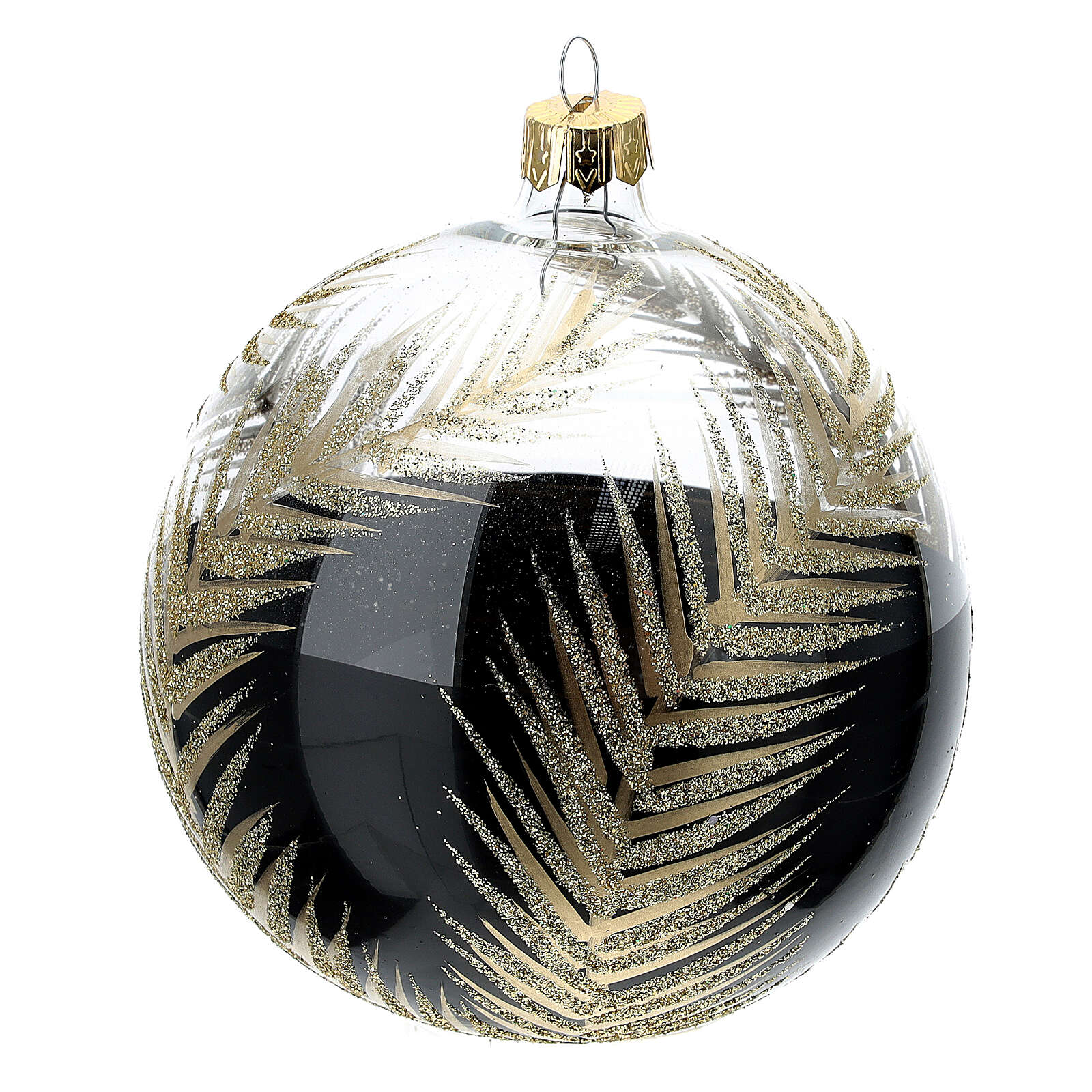 Christmas tree ornament palm fronds black gold blown glass 100 mm 4