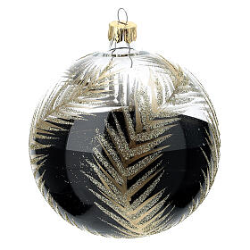 Christmas tree ornament palm fronds black gold blown glass 100 mm s3