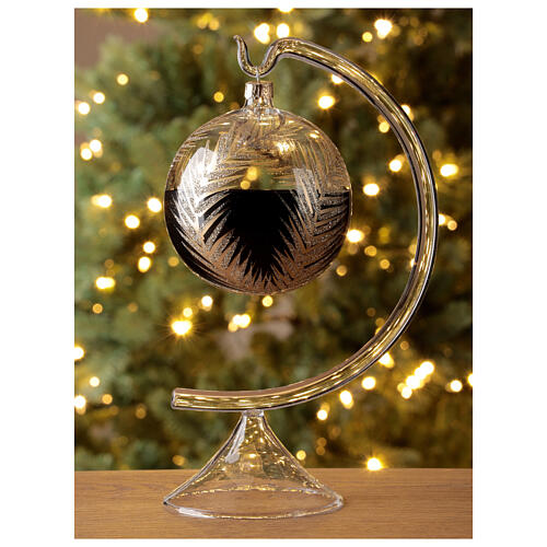 Christmas tree ornament palm fronds black gold blown glass 100 mm 2