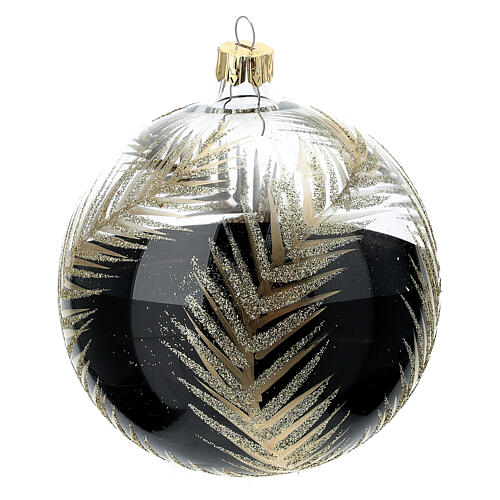 Christmas tree ornament palm fronds black gold blown glass 100 mm 3