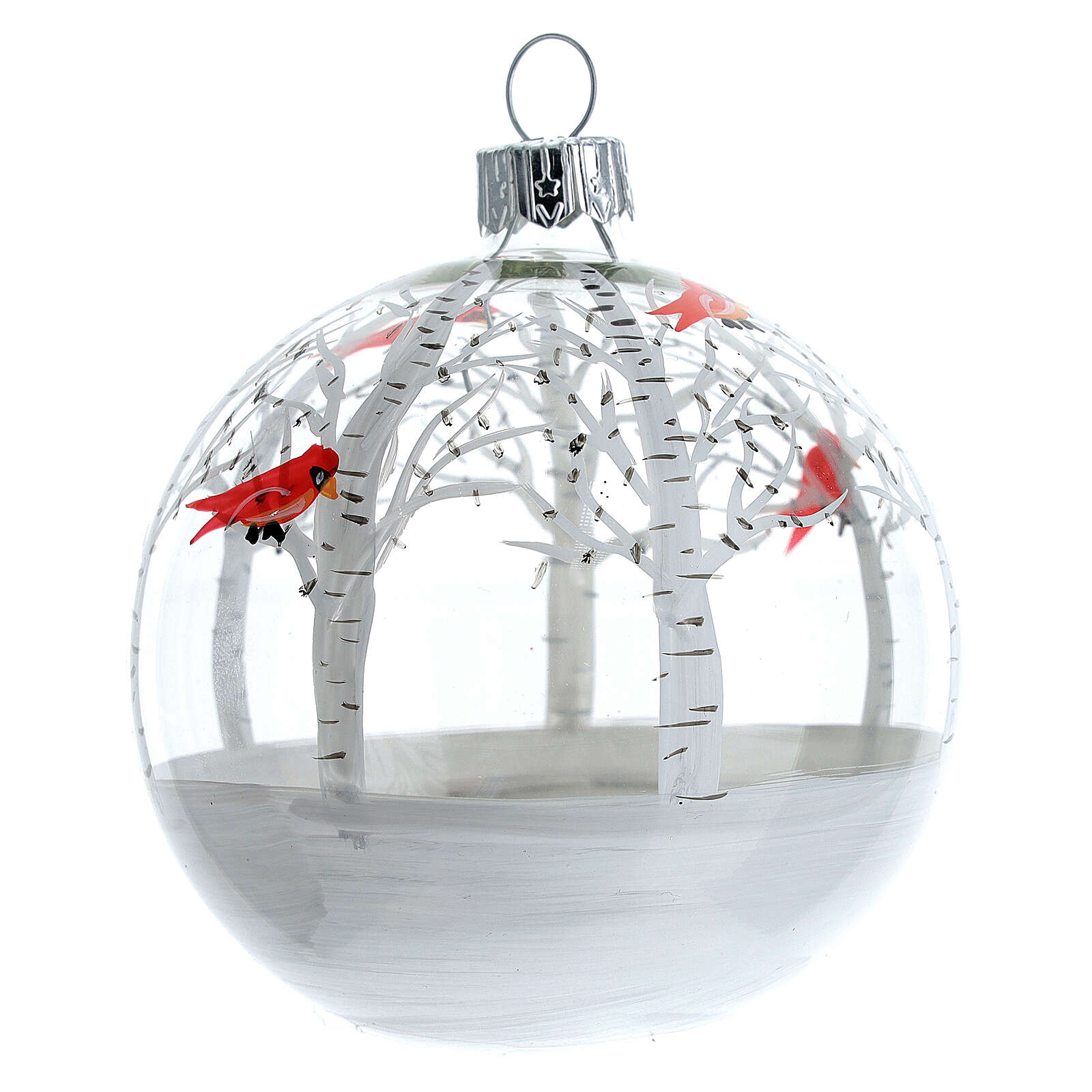 Snowy forest ball little red birds blown glass 80 mm 6 pcs 4