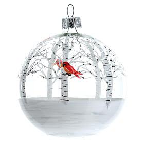Snowy forest ball little red birds blown glass 80 mm 6 pcs s2