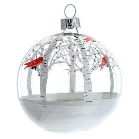 Snowy forest ball little red birds blown glass 80 mm 6 pcs s3