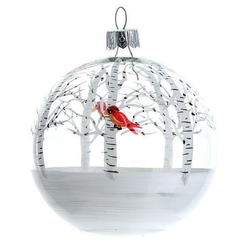 Snowy forest ball little red birds blown glass 80 mm 6 pcs 2