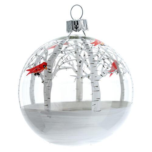Snowy forest ball little red birds blown glass 80 mm 6 pcs 3