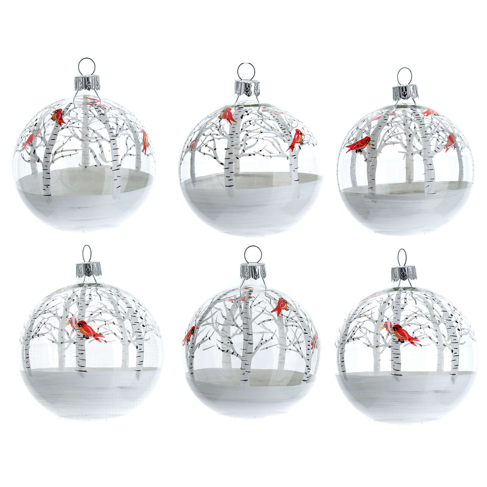 Christmas tree ornaments snowy forest red birds blown glass 80 mm 6 pcs 4