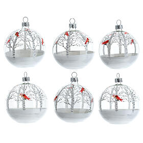 Christmas tree ornaments snowy forest red birds blown glass 80 mm 6 pcs s1