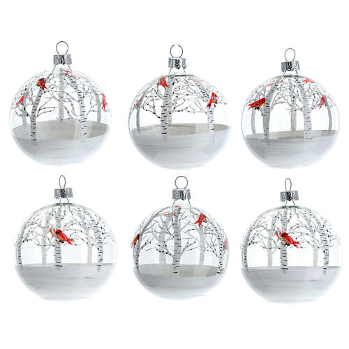 Christmas tree ornaments snowy forest red birds blown glass 80 mm 6 pcs 1
