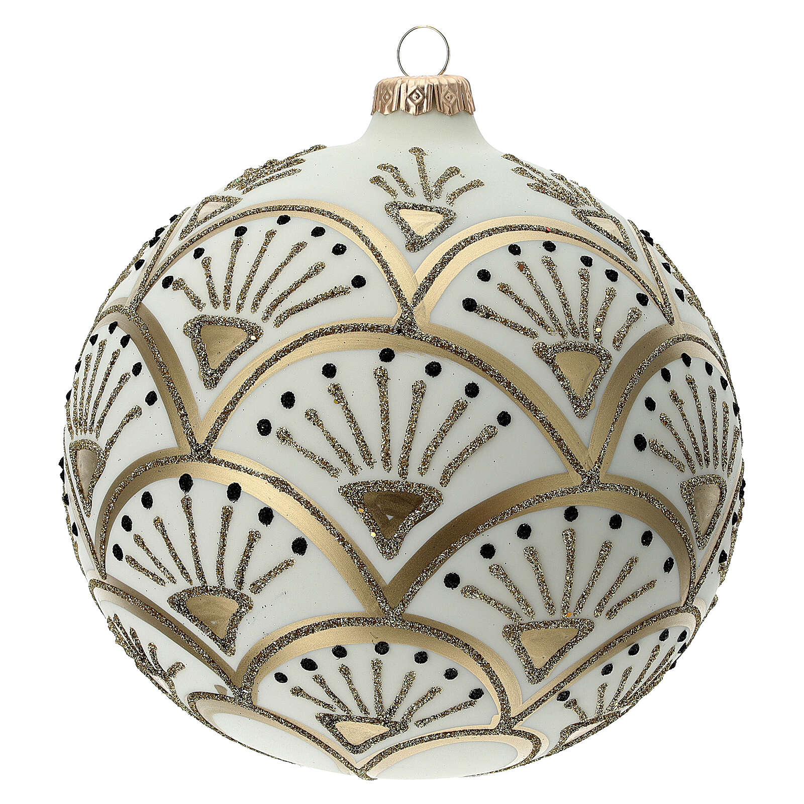 Christmas ball matt white gold black glitter decoration blown glass 150 mm 4