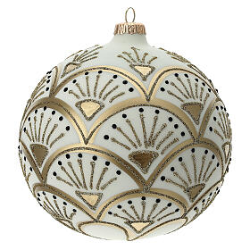 Christmas ball matt white gold black glitter decoration blown glass 150 mm s1