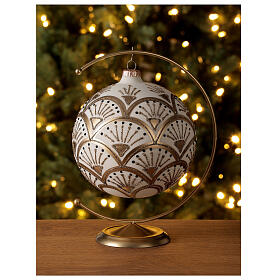 Christmas ball matt white gold black glitter decoration blown glass 150 mm s2