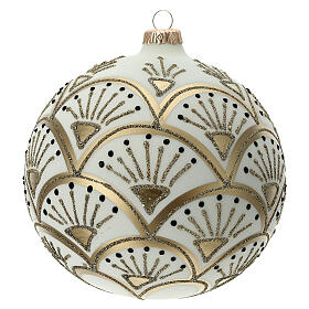 Christmas ball matt white gold black glitter decoration blown glass 150 mm s3