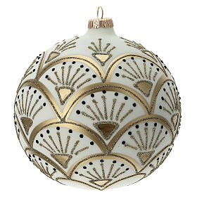 Christmas ball matt white gold black glitter decoration blown glass 150 mm s4