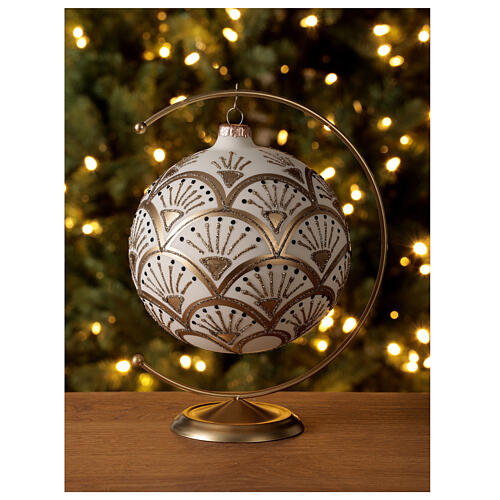 Christmas ball matt white gold black glitter decoration blown glass 150 mm 2