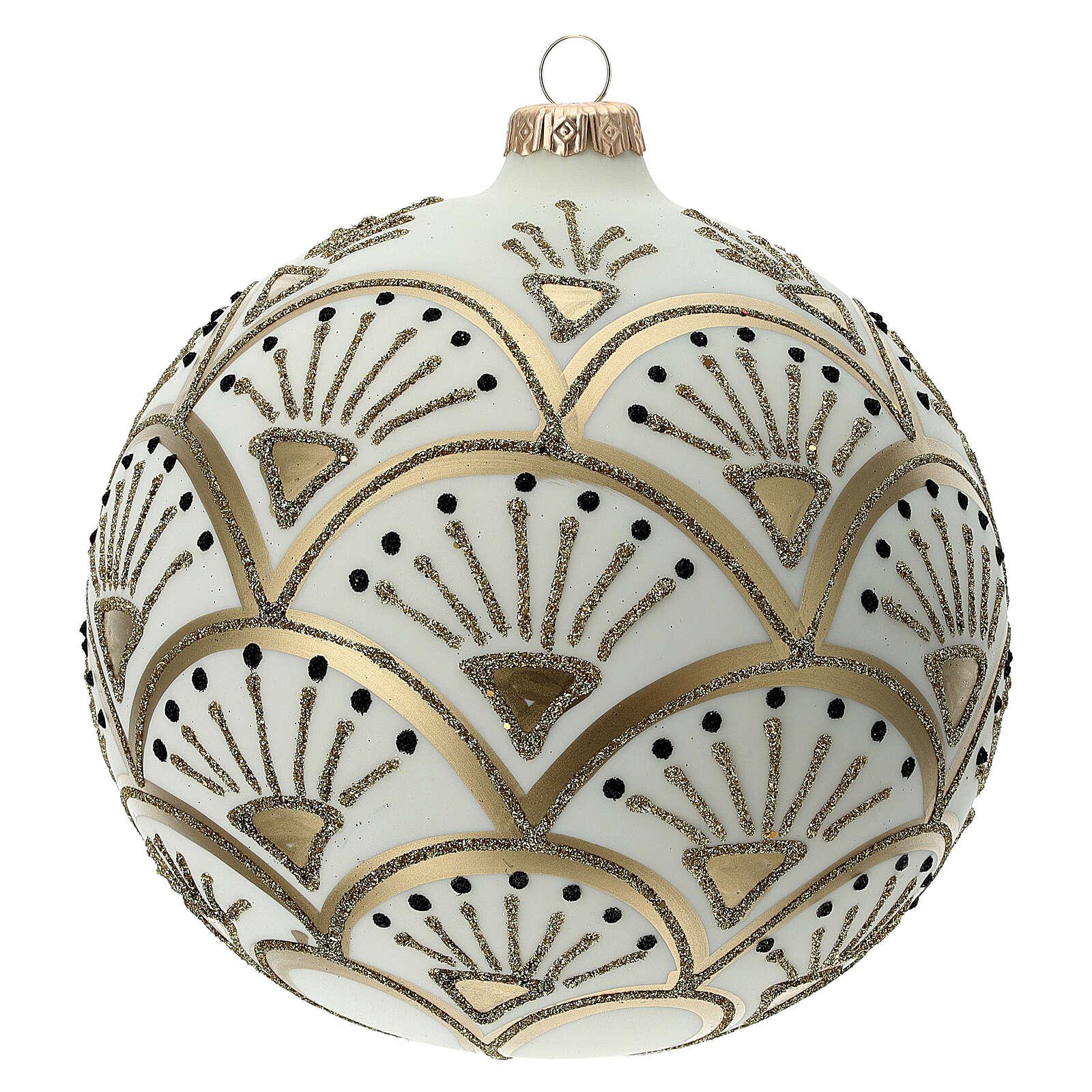 Glass Christmas ornaments matte white gold black glitter decor 150 mm 4