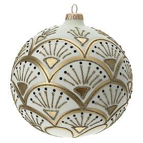 Glass Christmas ornaments matte white gold black glitter decor 150 mm s1