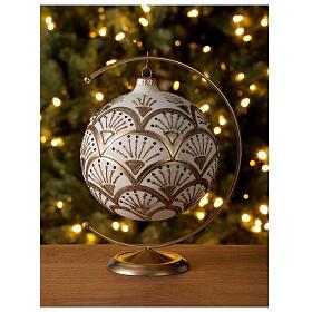 Glass Christmas ornaments matte white gold black glitter decor 150 mm s2