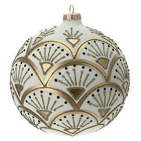 Glass Christmas ornaments matte white gold black glitter decor 150 mm s4
