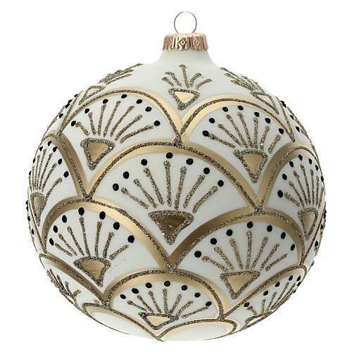 Glass Christmas ornaments matte white gold black glitter decor 150 mm 3