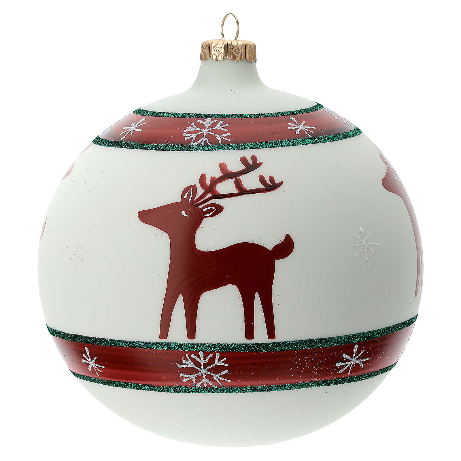 Boule sapin Noël rennes flocons neige verre soufflé 150 mm 4