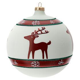 Boule sapin Noël rennes flocons neige verre soufflé 150 mm s1