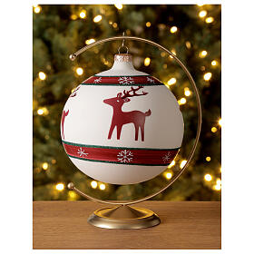 Boule sapin Noël rennes flocons neige verre soufflé 150 mm s2