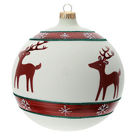 Boule sapin Noël rennes flocons neige verre soufflé 150 mm s3